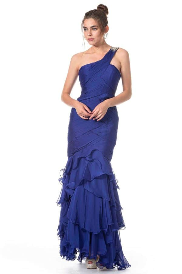 One-Shoulder, drapiertes Ballkleid mit Volant-Saum